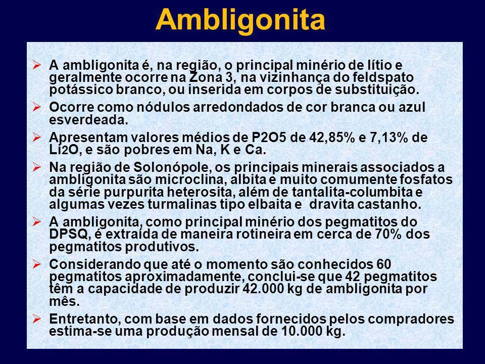 Ambligonita A ambligonita é, na região, o principal minério de lítio e geralmente ocorre na Zona 3, na vizinhança do feldspato potássico branco, ou in