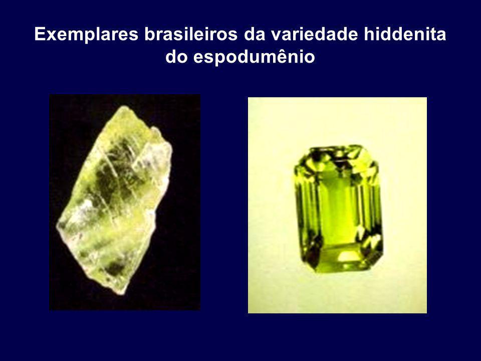 Exemplares brasileiros da variedade hiddenita do espodumênio