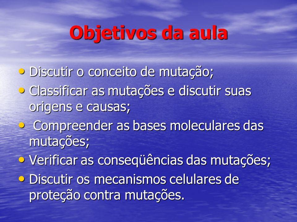 Objetivos da aula Discutir o conceito de mutação; Discutir o conceito de mutação; Classificar as mutações e discutir suas origens e causas; Classifica