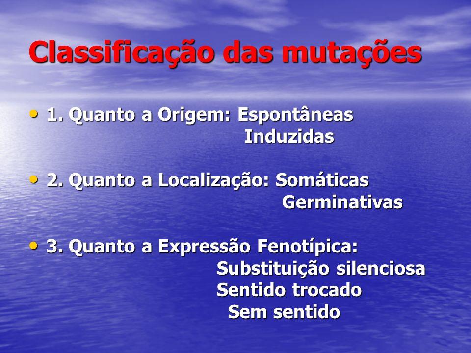 Classificação das mutações 1. Quanto a Origem: Espontâneas 1. Quanto a Origem: Espontâneas Induzidas Induzidas 2. Quanto a Localização: Somáticas 2. Q