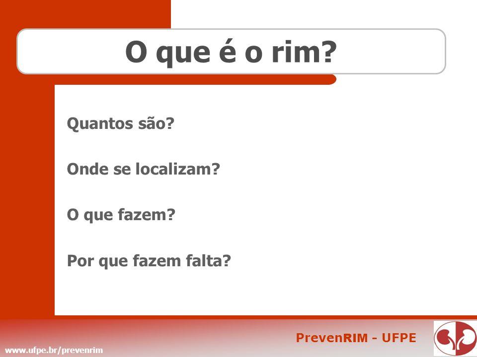 www.ufpe.br/prevenrim Preven RIM - UFPE O que é o rim? Quantos são? Onde se localizam? O que fazem? Por que fazem falta?