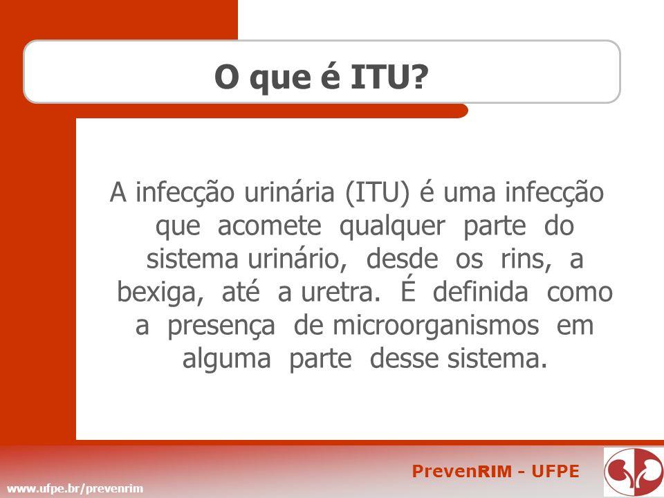 www.ufpe.br/prevenrim Preven RIM - UFPE O que é ITU? A infecção urinária (ITU) é uma infecção que acomete qualquer parte do sistema urinário, desde os