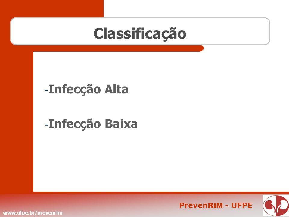 www.ufpe.br/prevenrim Preven RIM - UFPE Sintomas Na infecção baixa: - Dor e ardência ao urinar - Dificuldade para iniciar a micção - Urgência miccional - Pequena quantidade de urina várias vezes ao dia - Urina com mau cheiro, de cor alterada - Pode haver eliminação de sangue na urina