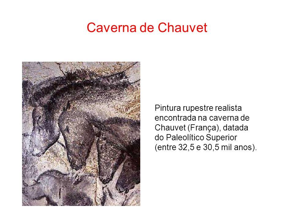 Caverna de Chauvet Pintura rupestre realista encontrada na caverna de Chauvet (França), datada do Paleolítico Superior (entre 32,5 e 30,5 mil anos).