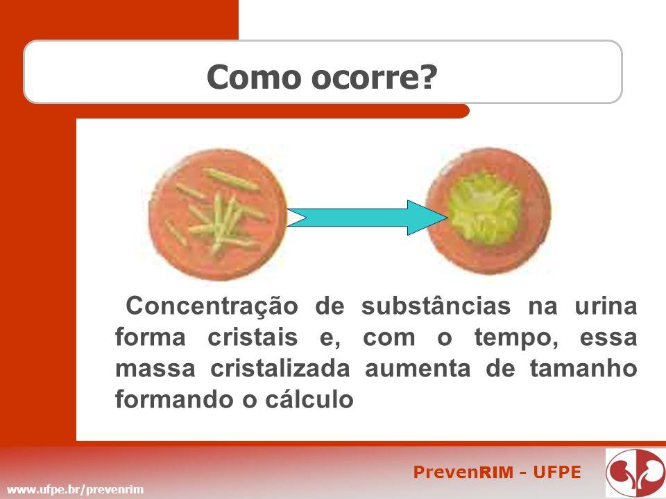 www.ufpe.br/prevenrim Preven RIM - UFPE Como ocorre? Concentração de substâncias na urina forma cristais e, com o tempo, essa massa cristalizada aumen