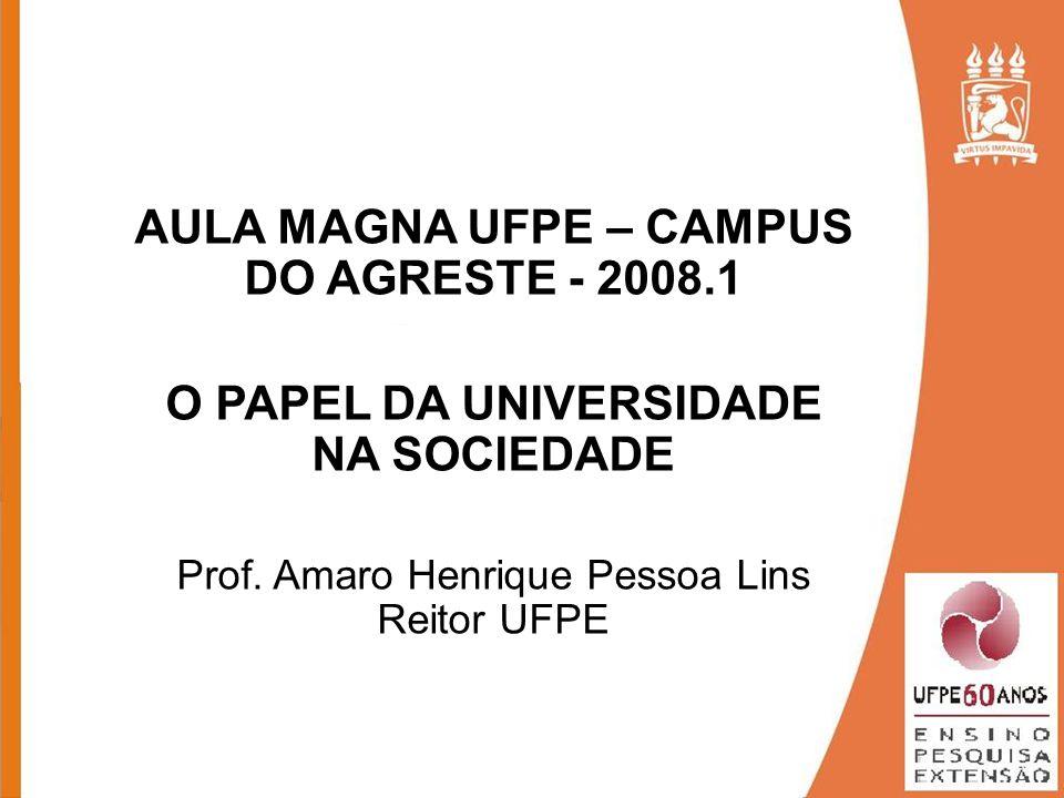 AULA MAGNA UFPE – CAMPUS DO AGRESTE - 2008.1 O PAPEL DA UNIVERSIDADE NA SOCIEDADE Prof. Amaro Henrique Pessoa Lins Reitor UFPE