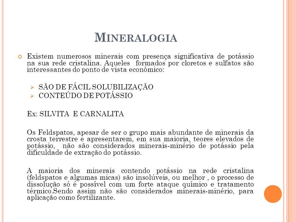 M INERALOGIA Existem numerosos minerais com presença significativa de potássio na sua rede cristalina. Aqueles formados por cloretos e sulfatos são in
