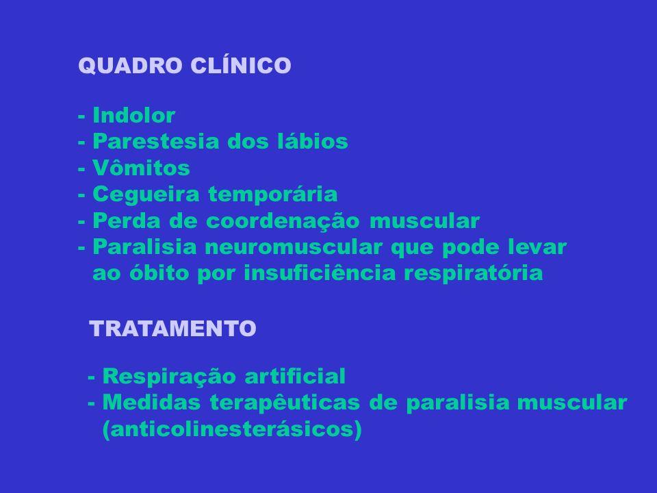 QUADRO CLÍNICO - Indolor - Parestesia dos lábios - Vômitos - Cegueira temporária - Perda de coordenação muscular - Paralisia neuromuscular que pode le