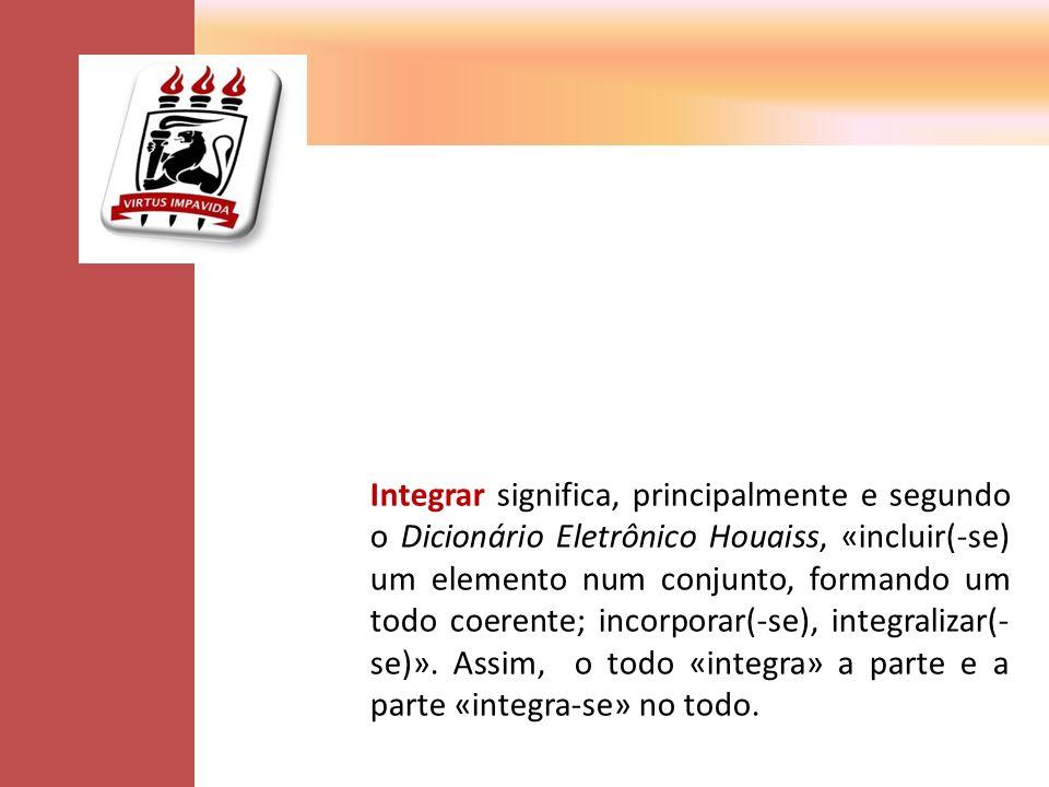 Integrar significa, principalmente e segundo o Dicionário Eletrônico Houaiss, «incluir(-se) um elemento num conjunto, formando um todo coerente; incorporar(-se), integralizar(- se)».