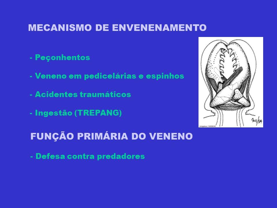 MECANISMO DE ENVENENAMENTO - Peçonhentos - Veneno em pedicelárias e espinhos - Acidentes traumáticos - Ingestão (TREPANG) FUNÇÃO PRIMÁRIA DO VENENO -
