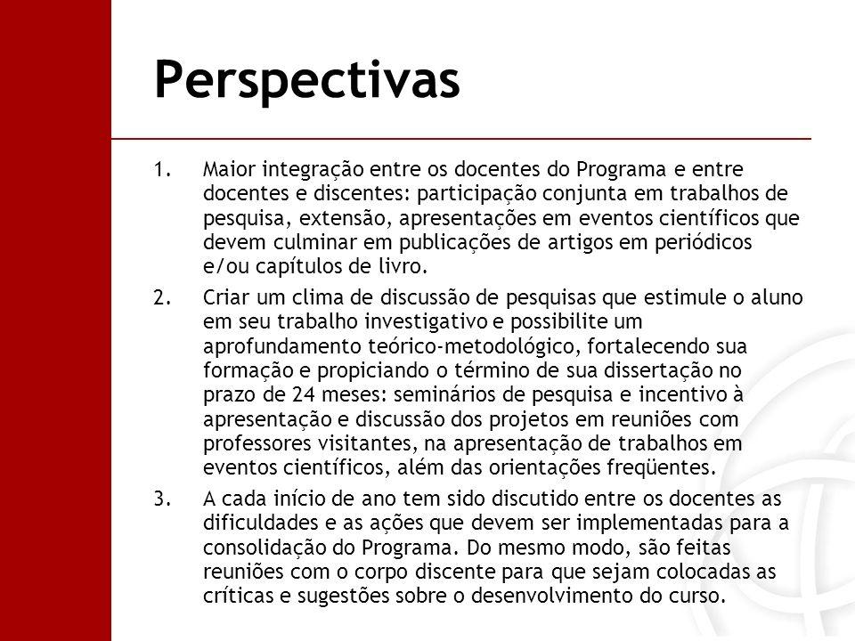 Perspectivas 1.Maior integração entre os docentes do Programa e entre docentes e discentes: participação conjunta em trabalhos de pesquisa, extensão,