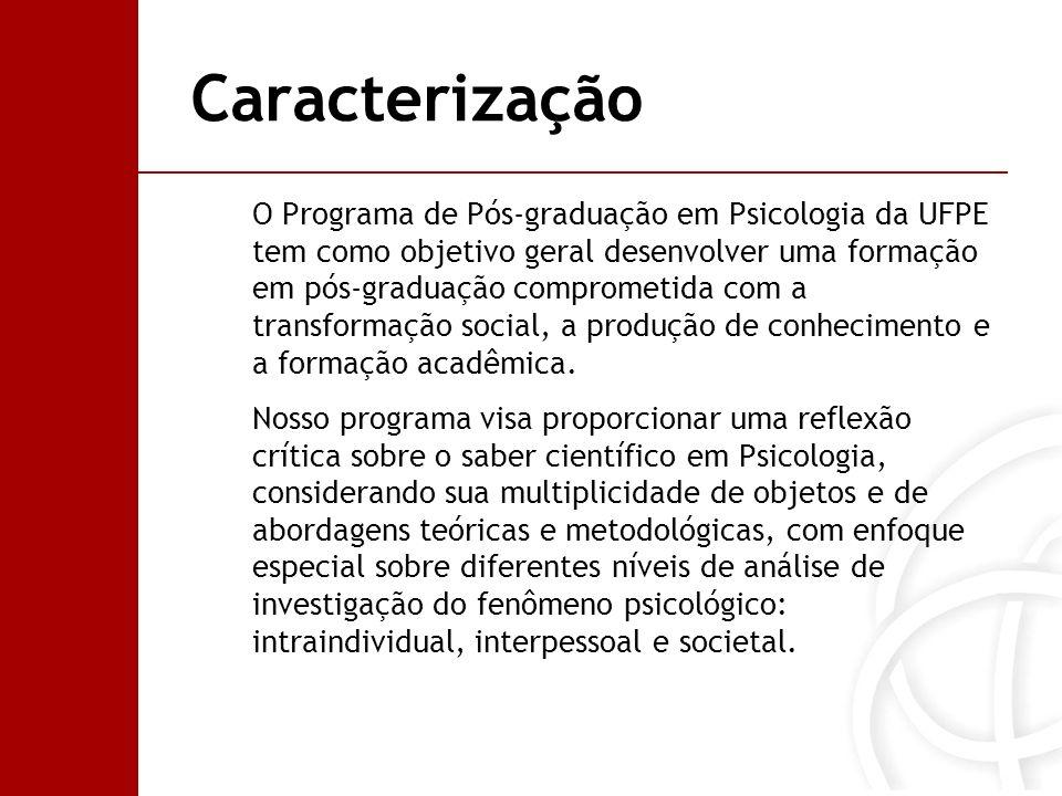 Caracterização O Programa de Pós-graduação em Psicologia da UFPE tem como objetivo geral desenvolver uma formação em pós-graduação comprometida com a