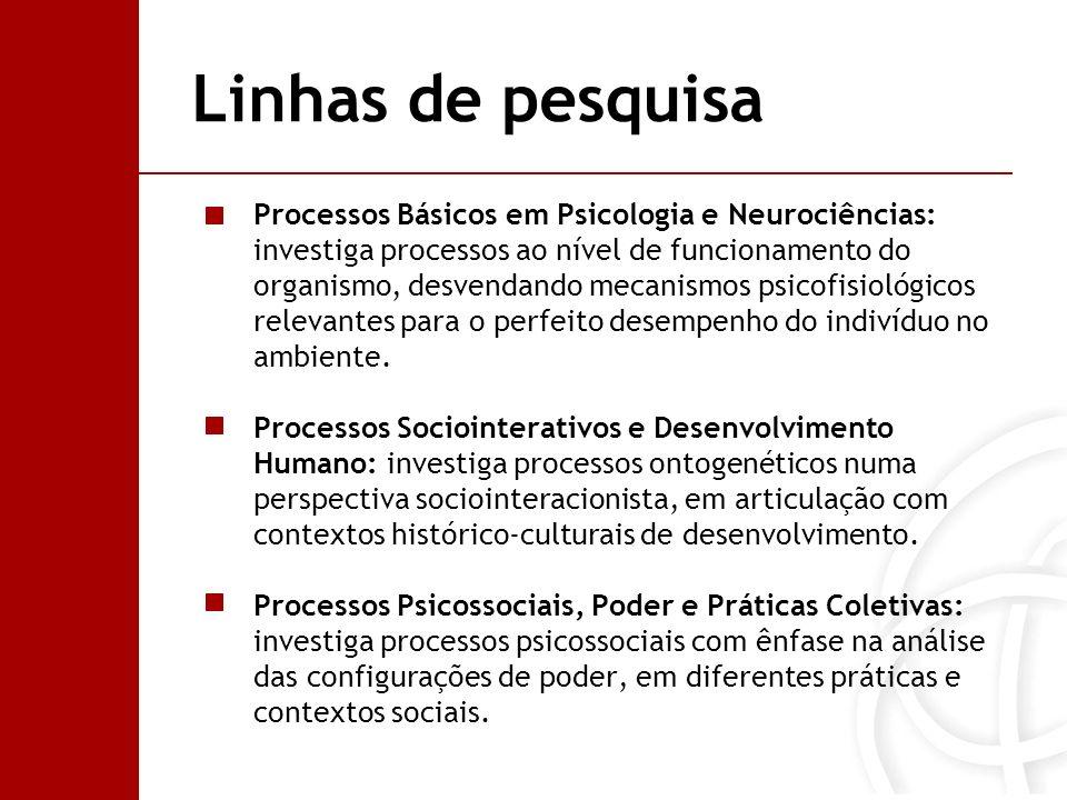 Linhas de pesquisa Processos Básicos em Psicologia e Neurociências: investiga processos ao nível de funcionamento do organismo, desvendando mecanismos