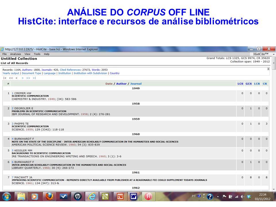 ANÁLISE DO CORPUS OFF LINE HistCite: interface e recursos de análise bibliométricos