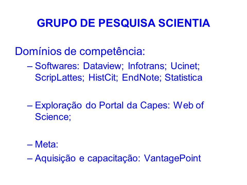 GRUPO DE PESQUISA SCIENTIA Domínios de competência: –Softwares: Dataview; Infotrans; Ucinet; ScripLattes; HistCit; EndNote; Statistica –Exploração do
