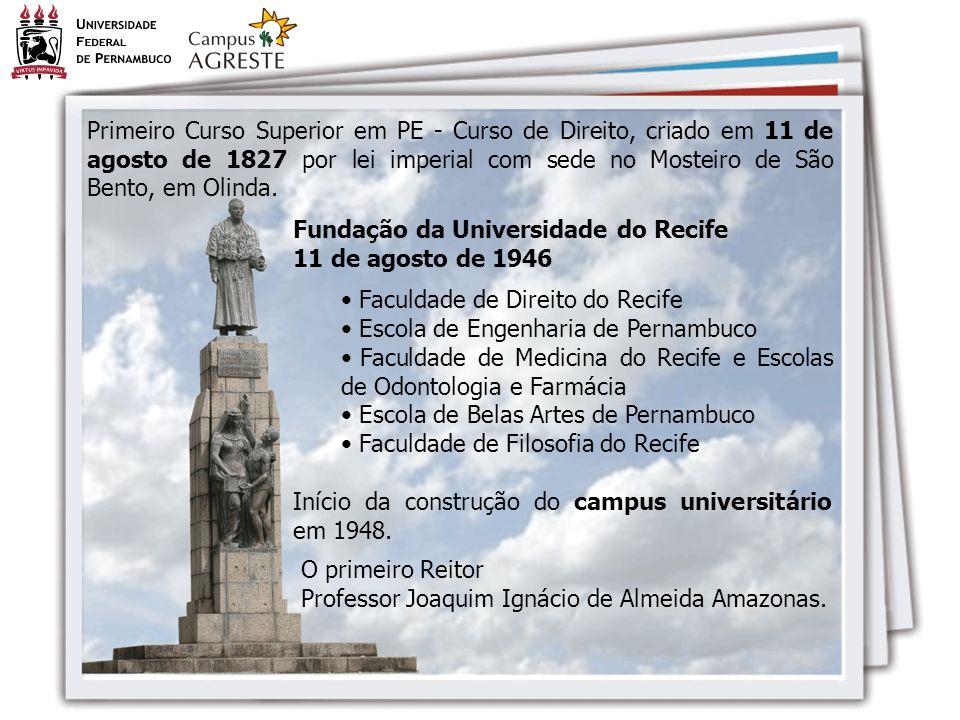 Fundação da Universidade do Recife 11 de agosto de 1946 Faculdade de Direito do Recife Escola de Engenharia de Pernambuco Faculdade de Medicina do Rec