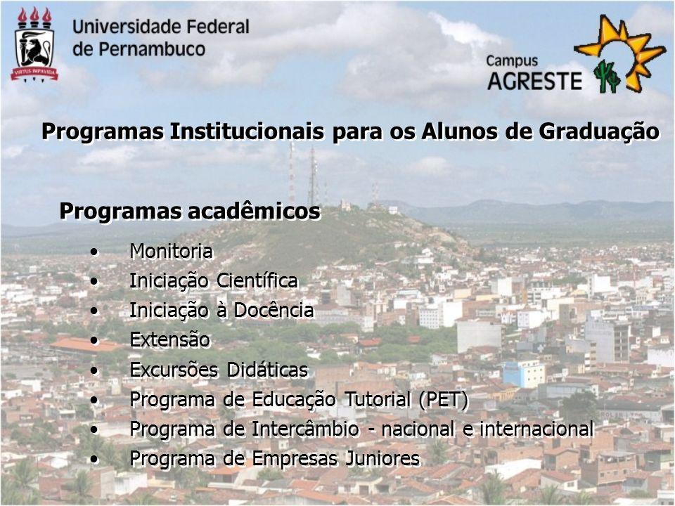 Monitoria Iniciação Científica Iniciação à Docência Extensão Excursões Didáticas Programa de Educação Tutorial (PET) Programa de Intercâmbio - naciona