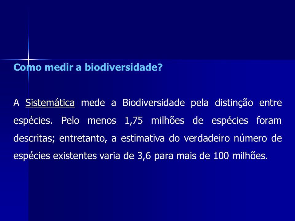 Como medir a biodiversidade? A Sistemática mede a Biodiversidade pela distinção entre espécies. Pelo menos 1,75 milhões de espécies foram descritas; e