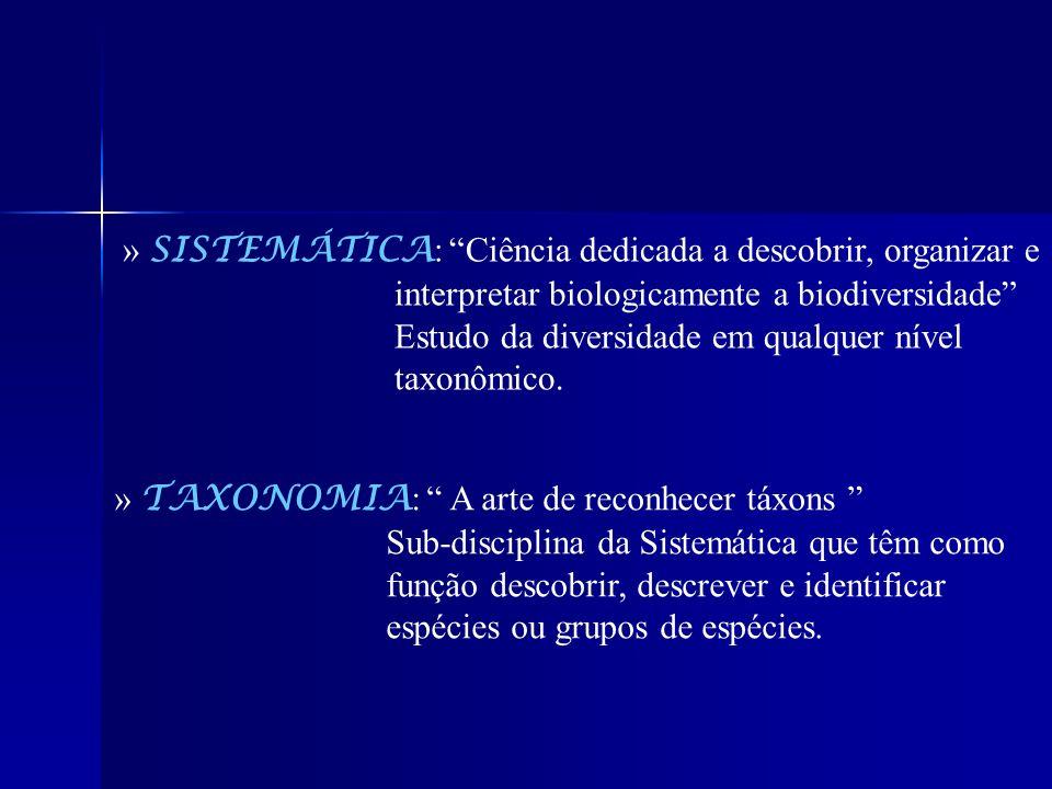 » SISTEMÁTICA : Ciência dedicada a descobrir, organizar e interpretar biologicamente a biodiversidade Estudo da diversidade em qualquer nível taxonômi