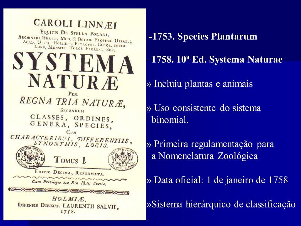 - 1758. 10ª Ed. Systema Naturae » Incluiu plantas e animais » Uso consistente do sistema binomial. » Primeira regulamentação para a Nomenclatura Zooló