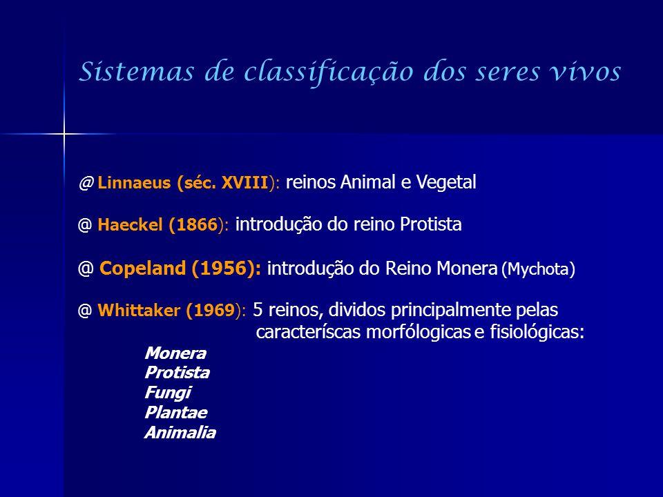 Sistemas de classificação dos seres vivos @ Linnaeus (séc. XVIII): reinos Animal e Vegetal @ Haeckel (1866): introdução do reino Protista @ Copeland (