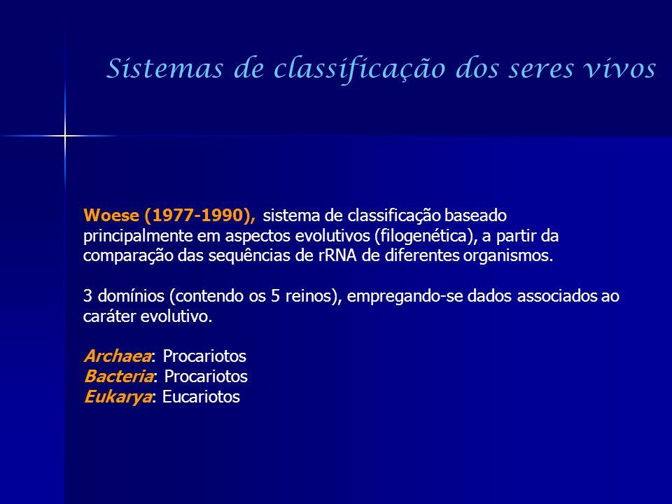 Woese (1977-1990), sistema de classificação baseado principalmente em aspectos evolutivos (filogenética), a partir da comparação das sequências de rRN
