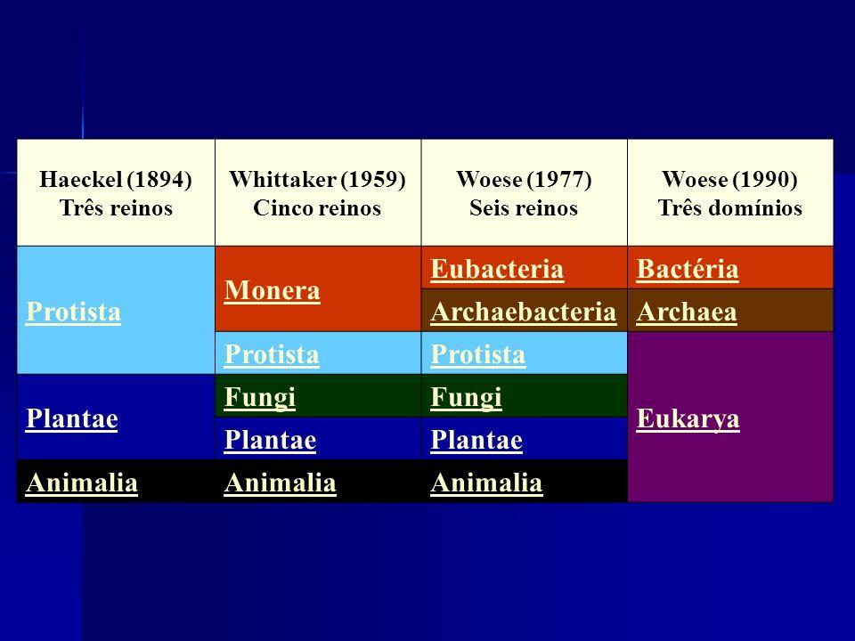 Haeckel (1894) Três reinos Whittaker (1959) Cinco reinos Woese (1977) Seis reinos Woese (1990) Três domínios Protista Monera EubacteriaBactéria Archae