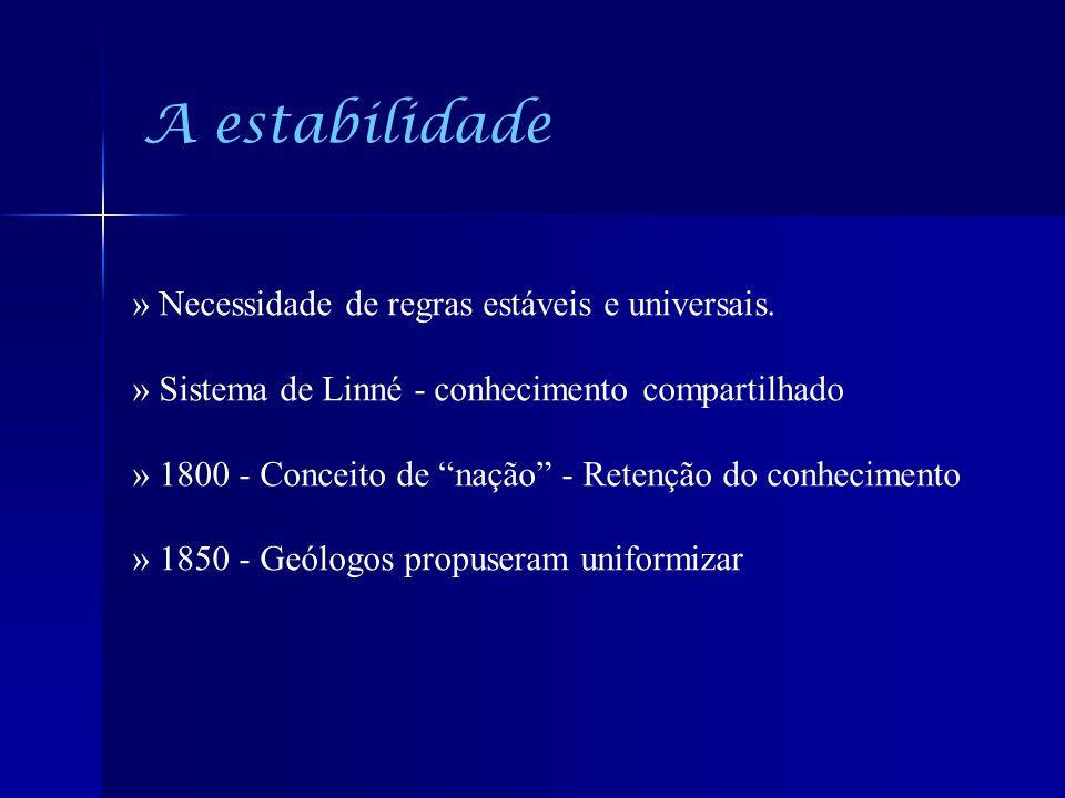 A estabilidade » Necessidade de regras estáveis e universais. » Sistema de Linné - conhecimento compartilhado » 1800 - Conceito de nação - Retenção do