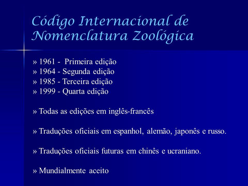 Código Internacional de Nomenclatura Zoológica » 1961 - Primeira edição » 1964 - Segunda edição » 1985 - Terceira edição » 1999 - Quarta edição » Toda