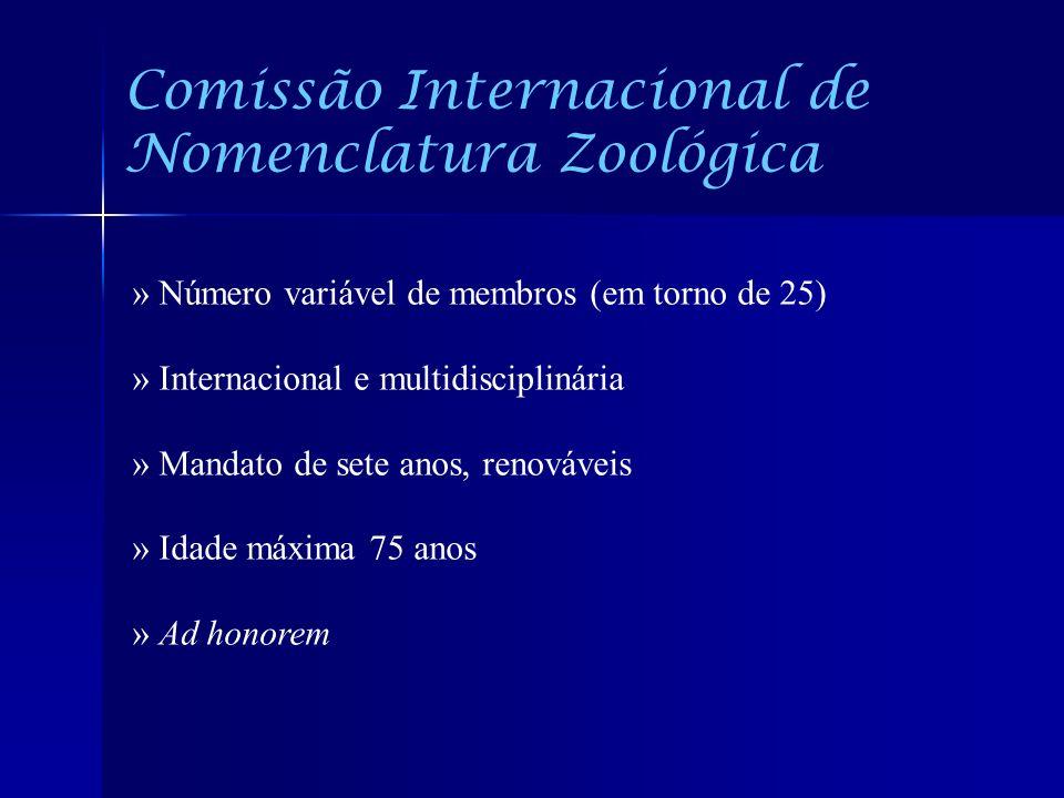 Comissão Internacional de Nomenclatura Zoológica » Número variável de membros (em torno de 25) » Internacional e multidisciplinária » Mandato de sete