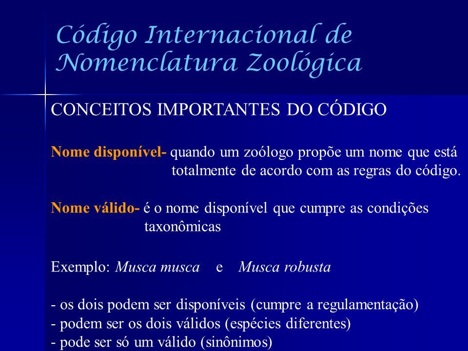 Código Internacional de Nomenclatura Zoológica CONCEITOS IMPORTANTES DO CÓDIGO Nome disponível- quando um zoólogo propõe um nome que está totalmente d