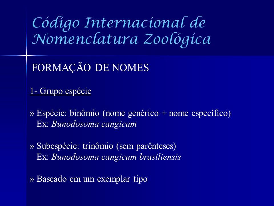 Código Internacional de Nomenclatura Zoológica FORMAÇÃO DE NOMES 1- Grupo espécie » Espécie: binômio (nome genérico + nome específico) Ex: Bunodosoma