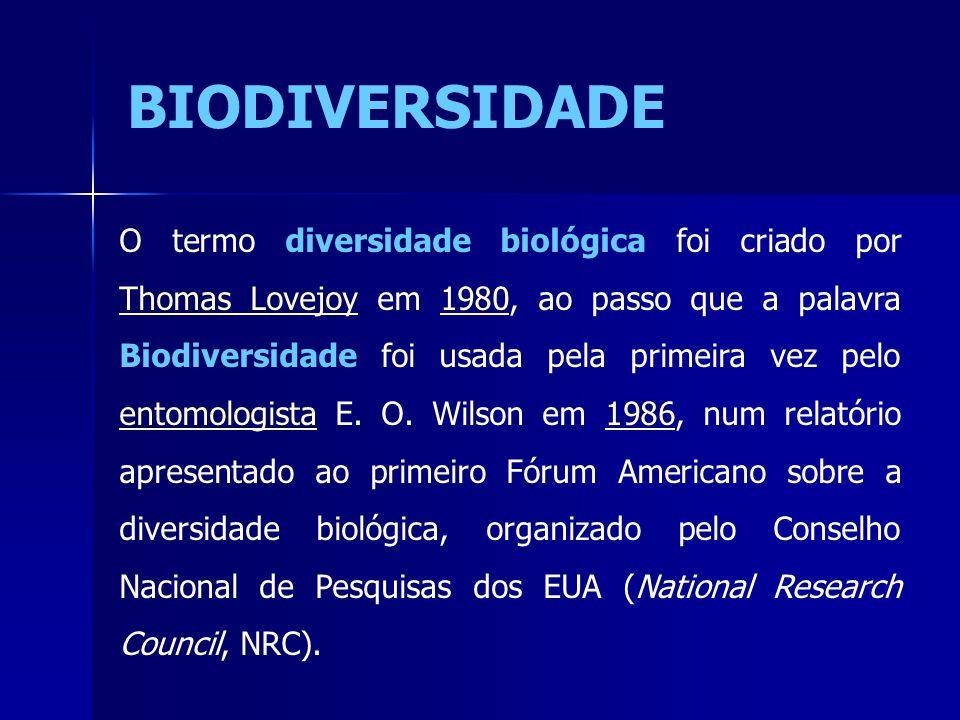 O termo diversidade biológica foi criado por Thomas Lovejoy em 1980, ao passo que a palavra Biodiversidade foi usada pela primeira vez pelo entomologi