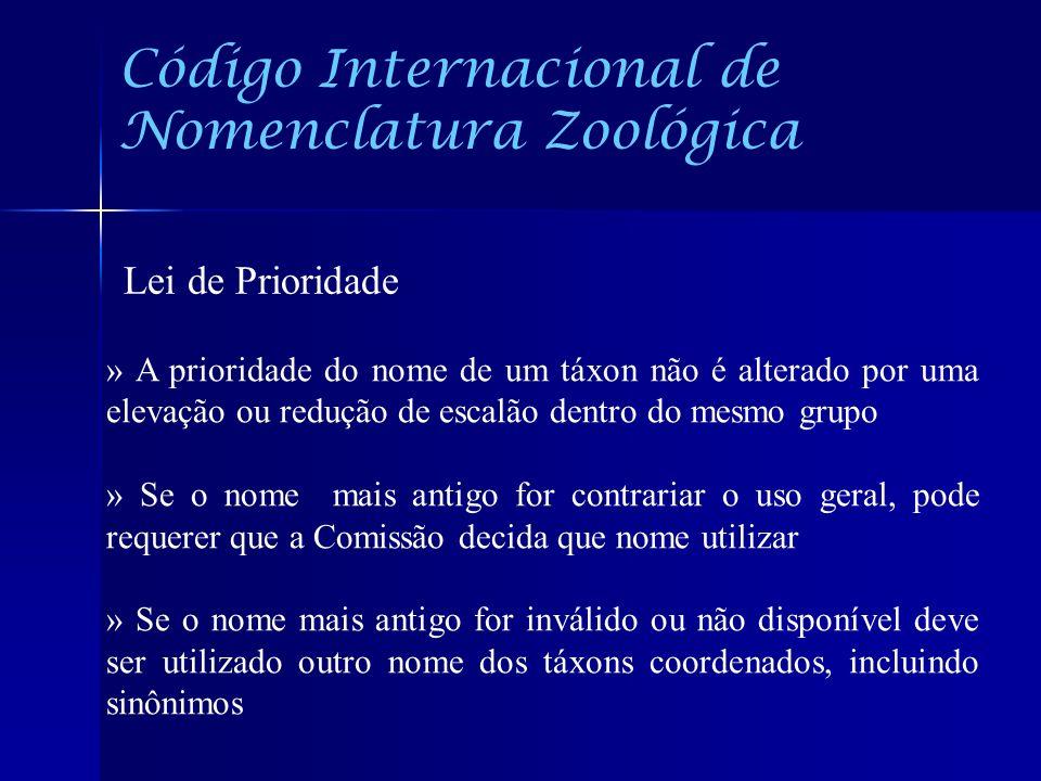 Código Internacional de Nomenclatura Zoológica Lei de Prioridade » A prioridade do nome de um táxon não é alterado por uma elevação ou redução de esca