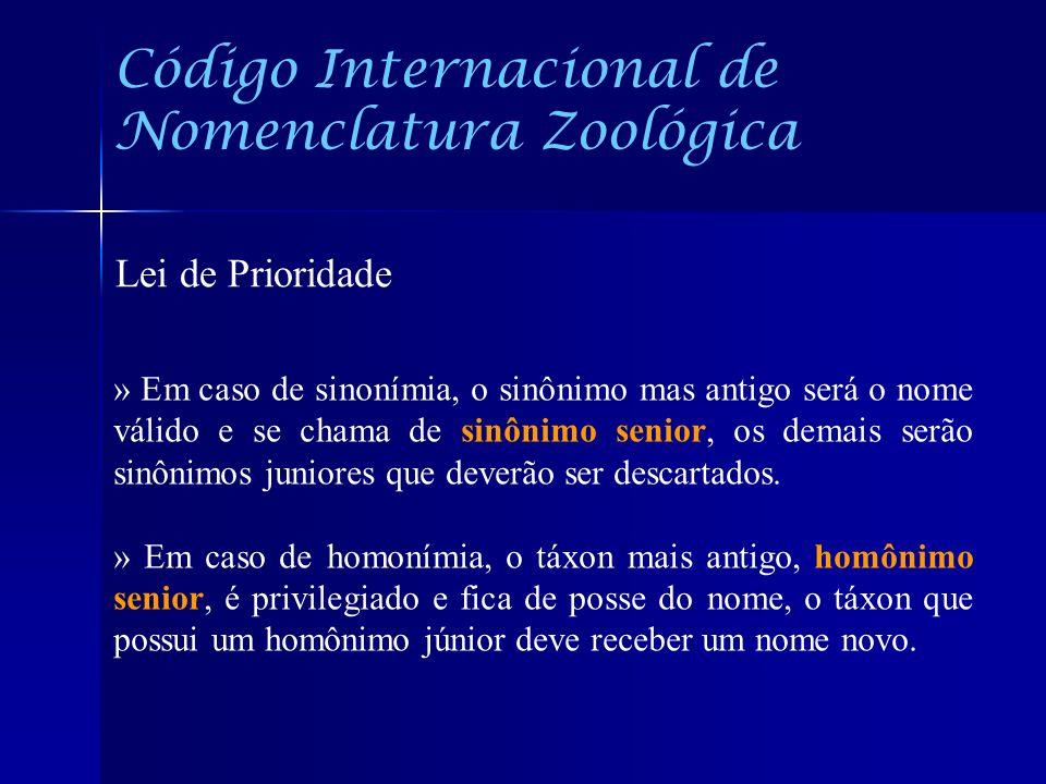 Código Internacional de Nomenclatura Zoológica Lei de Prioridade » Em caso de sinonímia, o sinônimo mas antigo será o nome válido e se chama de sinôni