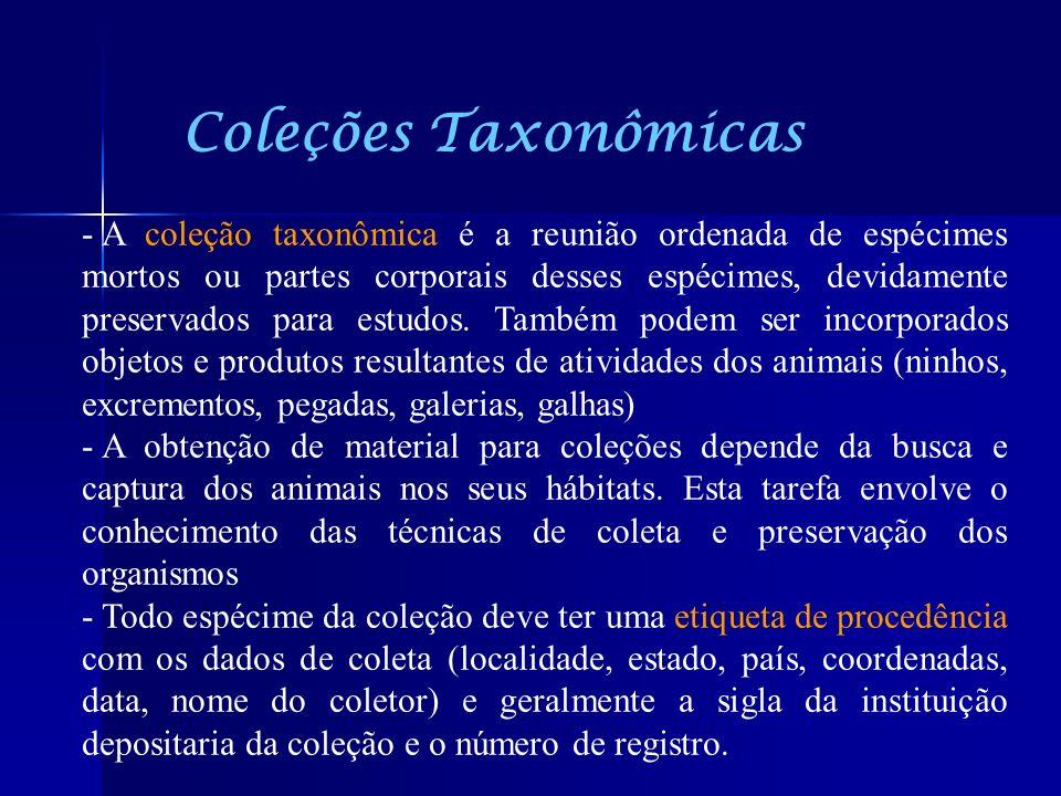 Coleções Taxonômicas - A coleção taxonômica é a reunião ordenada de espécimes mortos ou partes corporais desses espécimes, devidamente preservados par