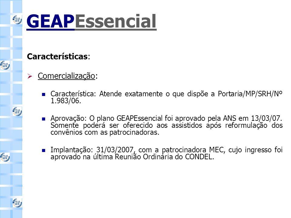 GEAPEssencial Características: Comercialização: Característica: Atende exatamente o que dispõe a Portaria/MP/SRH/Nº 1.983/06.