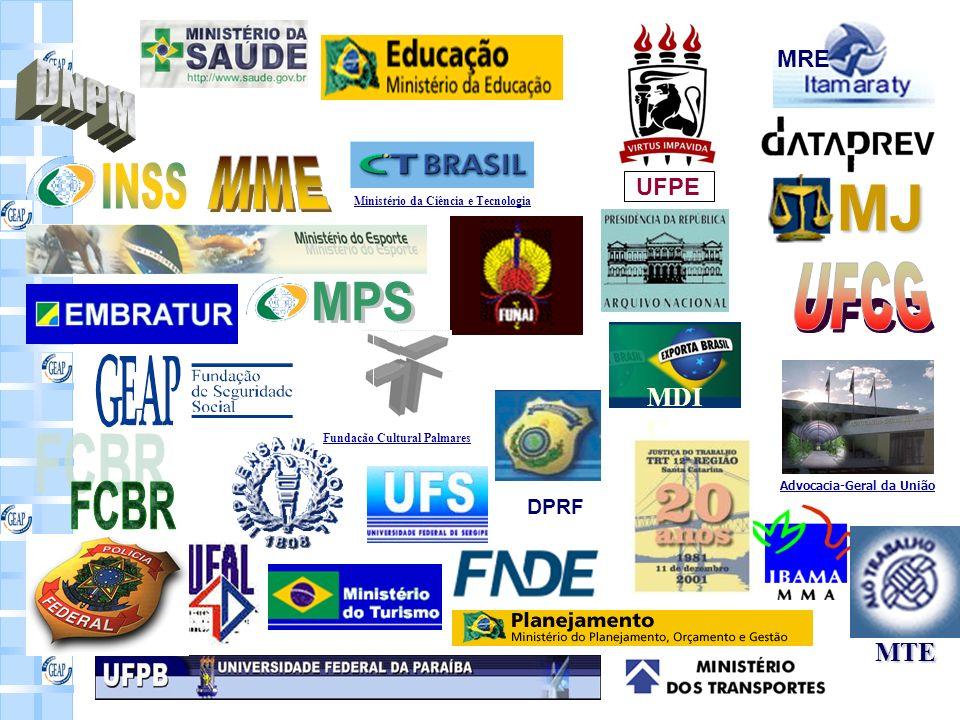 MRE MJ MDI C MTE Advocacia-Geral da União Ministério da Ciência e Tecnologia Fundação Cultural Palmares DPRF UFPE