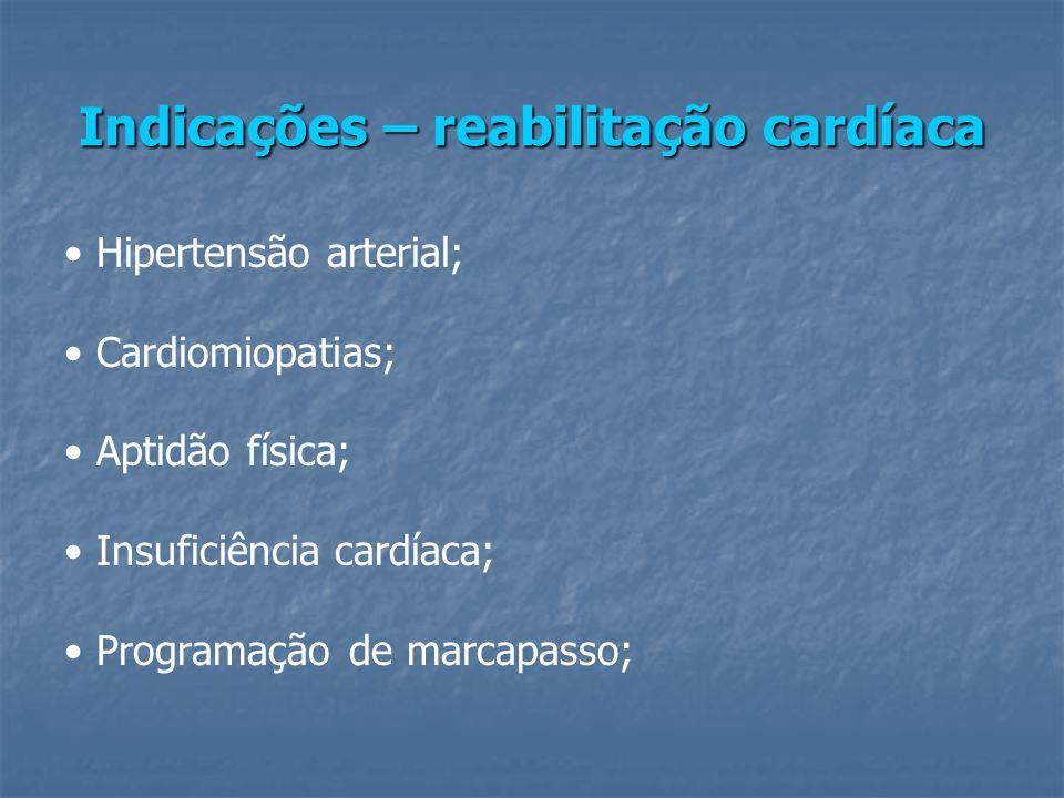 Indicações – reabilitação cardíaca Hipertensão arterial; Cardiomiopatias; Aptidão física; Insuficiência cardíaca; Programação de marcapasso;