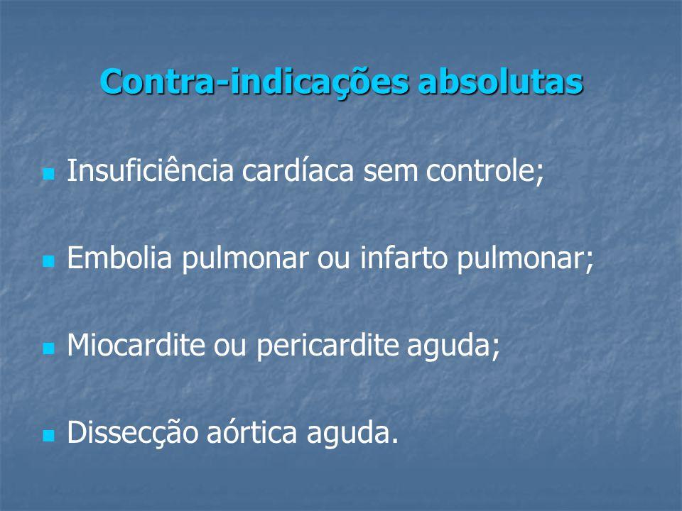 Contra-indicações absolutas Insuficiência cardíaca sem controle; Embolia pulmonar ou infarto pulmonar; Miocardite ou pericardite aguda; Dissecção aórtica aguda.