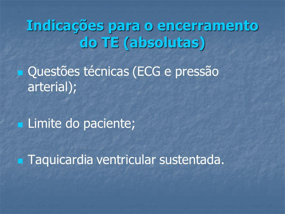 Indicações para o encerramento do TE (absolutas) Questões técnicas (ECG e pressão arterial); Limite do paciente; Taquicardia ventricular sustentada.