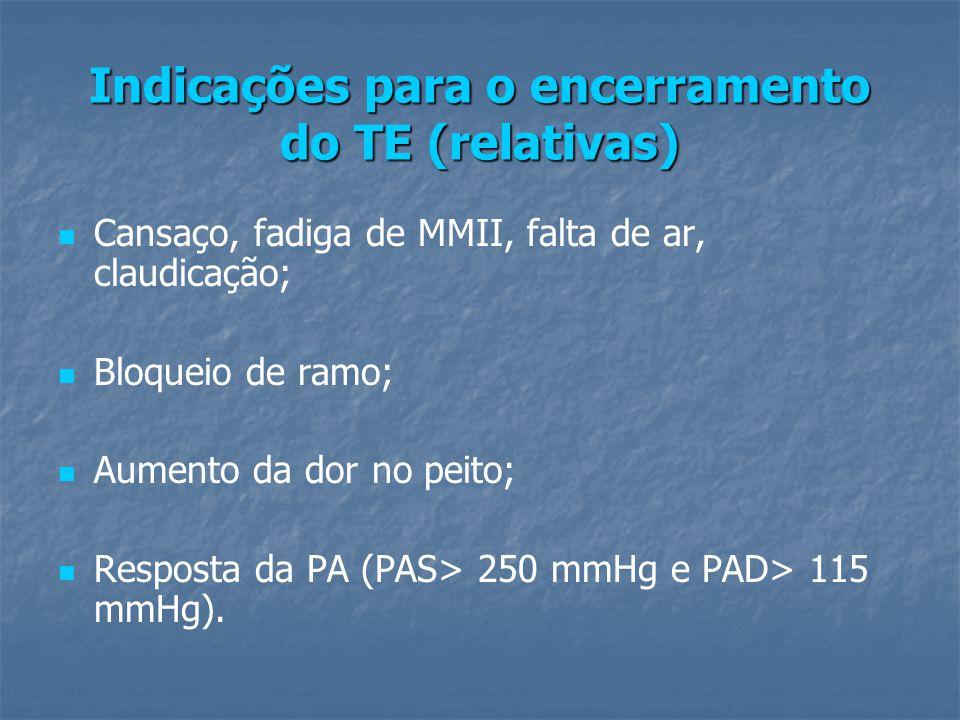 Indicações para o encerramento do TE (relativas) Cansaço, fadiga de MMII, falta de ar, claudicação; Bloqueio de ramo; Aumento da dor no peito; Resposta da PA (PAS> 250 mmHg e PAD> 115 mmHg).