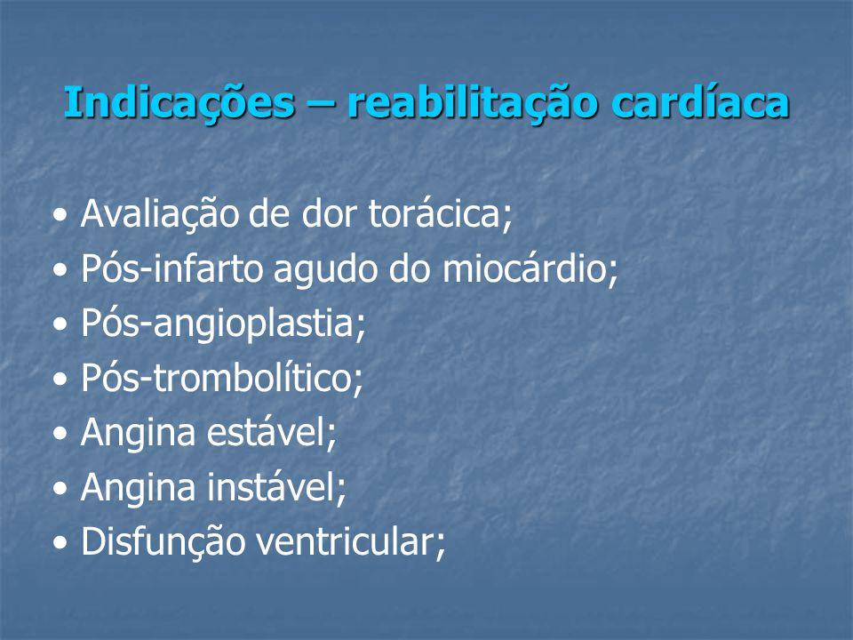 Indicações – reabilitação cardíaca Avaliação de dor torácica; Pós-infarto agudo do miocárdio; Pós-angioplastia; Pós-trombolítico; Angina estável; Angina instável; Disfunção ventricular;