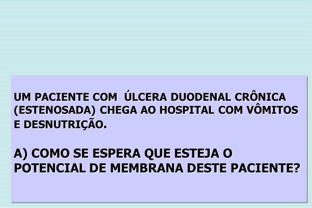 UM PACIENTE COM ÚLCERA DUODENAL CRÔNICA (ESTENOSADA) CHEGA AO HOSPITAL COM VÔMITOS E DESNUTRIÇÃO.
