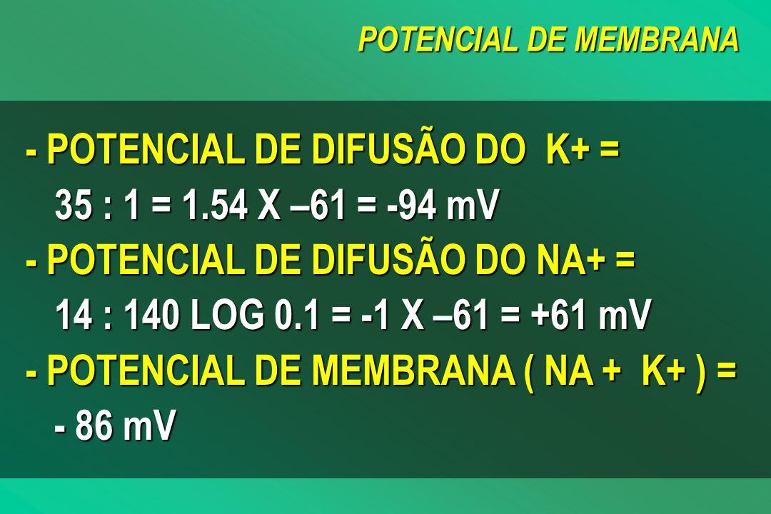 POTENCIAL DE MEMBRANA - POTENCIAL DE DIFUSÃO DO K+ = 35 : 1 = 1.54 X –61 = -94 mV - POTENCIAL DE DIFUSÃO DO NA+ = 14 : 140 LOG 0.1 = -1 X –61 = +61 mV - POTENCIAL DE MEMBRANA ( NA + K+ ) = - - 86 mV