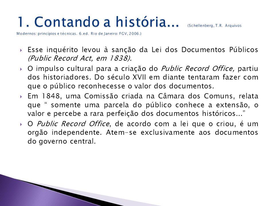 Esse inquérito levou à sanção da Lei dos Documentos Públicos (Public Record Act, em 1838).