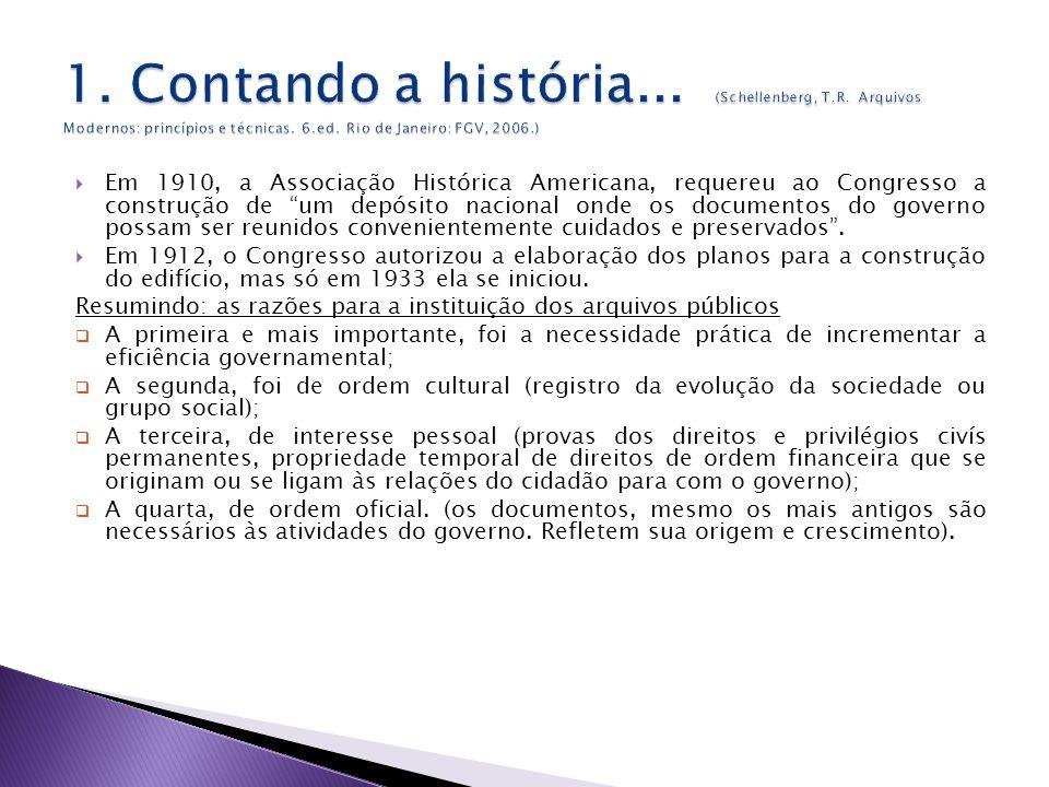 Em 1910, a Associação Histórica Americana, requereu ao Congresso a construção de um depósito nacional onde os documentos do governo possam ser reunidos convenientemente cuidados e preservados.