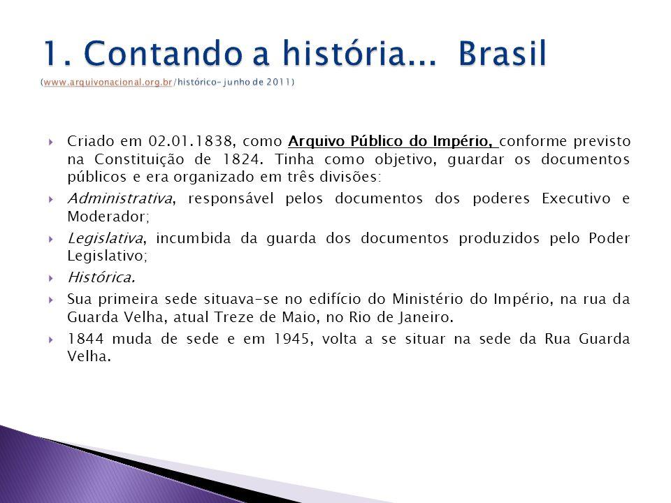 Criado em 02.01.1838, como Arquivo Público do Império, conforme previsto na Constituição de 1824.