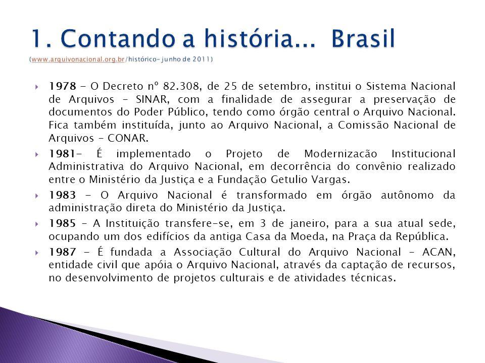 1978 - O Decreto nº 82.308, de 25 de setembro, institui o Sistema Nacional de Arquivos - SINAR, com a finalidade de assegurar a preservação de documentos do Poder Público, tendo como órgão central o Arquivo Nacional.