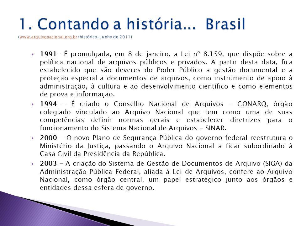 1991- É promulgada, em 8 de janeiro, a Lei nº 8.159, que dispõe sobre a política nacional de arquivos públicos e privados.